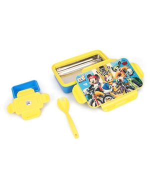 Disney Mickey & Friends Insulated Steel Lunch Box With Fork Spoon -Yellow Blue
