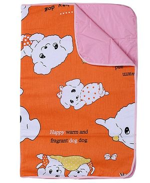 Fab N Funky - Waterproof Puppy Print Baby Mat Orange