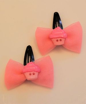 Many Frocks & Net Bow Cupcake Clips - Pink