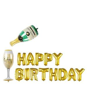 Smartcraft Happy Birthday Foil Balloon With Champagne Bottle And Glass - Golden