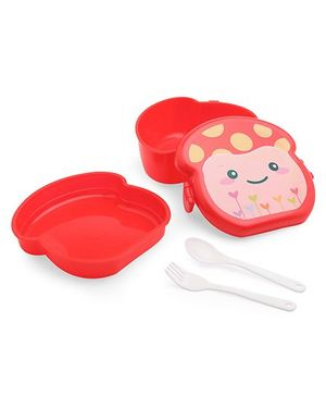 Lunch Box And Water Bottle Set Red (Print May Vary) - 360 ml