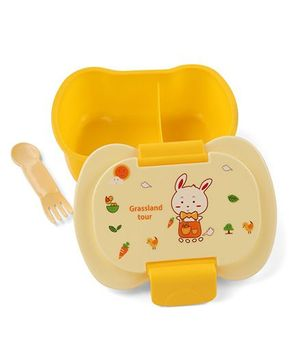 Lunch Box With 2 In 1 Fork Spoon - Yellow