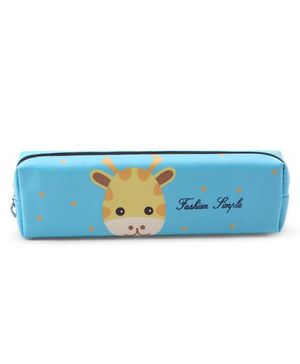 Pencil Pouch Giraffe Print - Blue