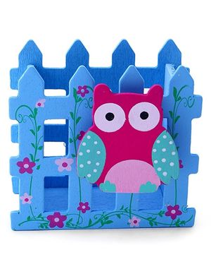 Pencil Stand Owl Motif - Sky Blue