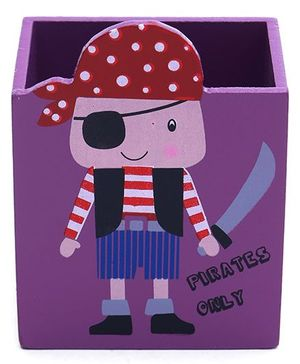 Pencil Stand Pirate Print - Purple