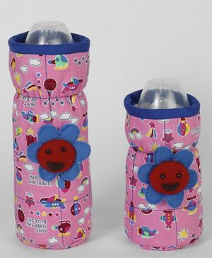 1st Step Bottle Cover Pack of 2 Sky Print Pink & Blue - Fits upto 240 ml & 120 ml each