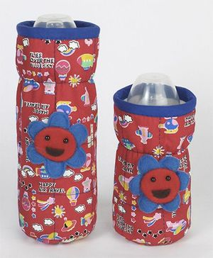 1st Step Bottle Cover Pack of 2 Sky Print Red & Blue - Fits upto 240 ml & 120 ml each