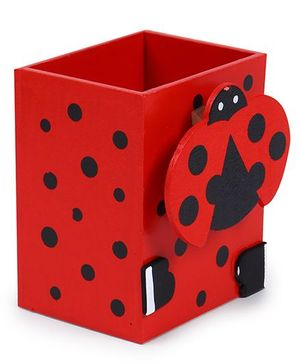 Ladybug Motif Pencil Stand - Red