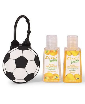 Zuci Junior Hand Sanitizer With Football  Bag Tag Pack of 2 - 30 ml (Flavours May Vary)