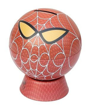 Baby Oodles Spider Man Round Shape Metal Money Bank - Red