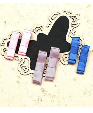 D'Chica Bow Hair Clip Set - Pink Purple Blue