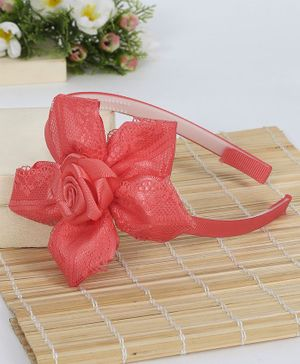 Babyhug Hair Band Flower Motif - Peach