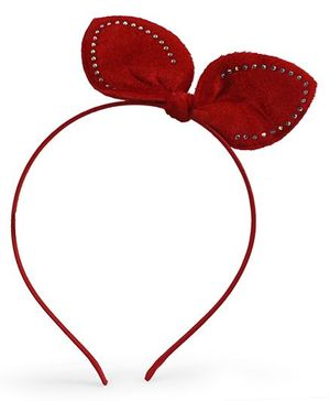 Tia Hair Accessories Diamond Studded Bunny Velvet Hairband - Red
