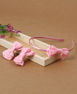 Babyhug Headband And Hair Clips With Bow - Pink
