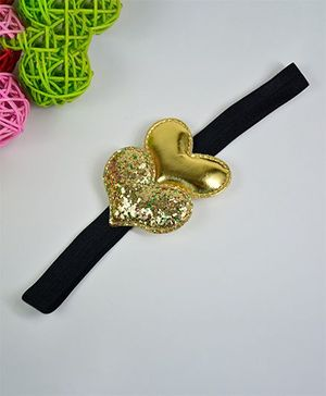 Little Miss Cuttie Double Heart Headband - Gold