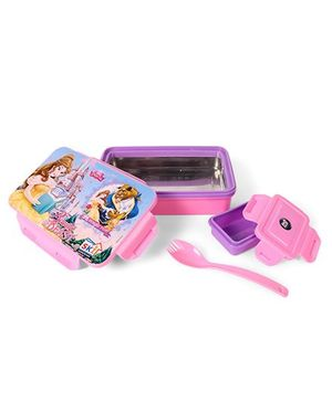 Disney Princess Insulated Steel Lunch Box With Fork Spoon - Pink Purple