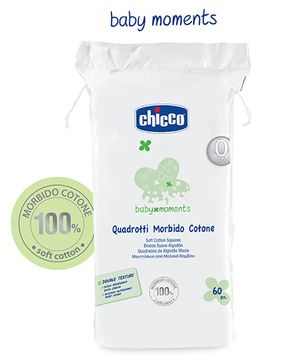 Chicco Soft Cotton Wool Squares - 60 Pieces