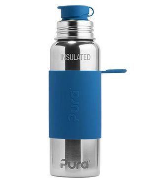 Pura Insulated Stainless Steel Sports Bottle With Silicone Cap Dark Blue - 650 ml