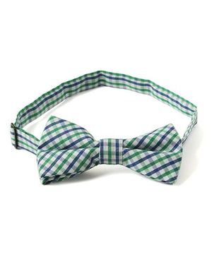 Little Hip Boutique Checks Bow Tie - Blue & Green