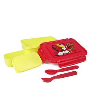 Disney Princess Lunch Box With Fork & Spoon - Yellow Red