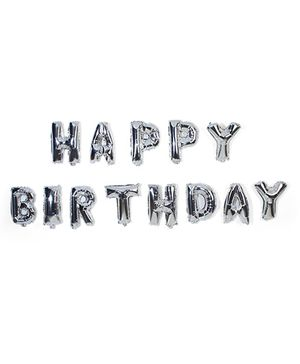 Themez Only Happy Birthday Foil Letter Balloons Silver - Set of 13 letters