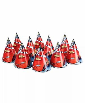 Funcart Cars Themed Party Hats Pack of 10 - Red