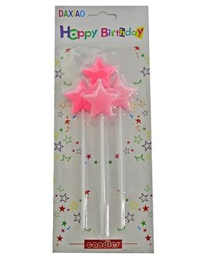Funcart Big Stick Star Shape Candle Pack of 4 - Pink