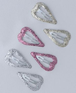 Babyhug Glittery Heart Shaped Snap Clips Set of 6 - Multicolor