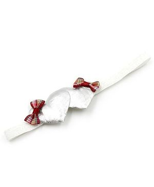 Magic Needles Elastic Hairband With 2 Hearts - Silver