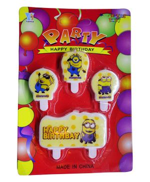 Funcart Minions Themed Cake Topper Birthday Candles Pack of 4 - Yellow