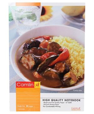 Camlin Single Line Notebook, Curry Rice Print - 76 Pages