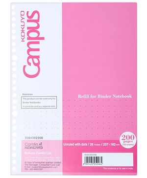 Campus - 200 Pages Unruled With Dots Notebook, Pink