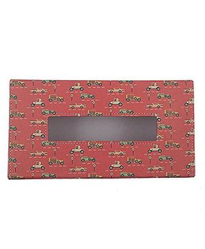The Crazy Me Leatherette Tissue Box Holder Vintage Cars Print - Multi Colour
