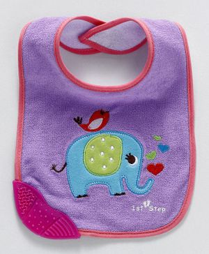 1st Step Bib Elephant Print - Blue Purple