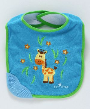 1st Step Bib Velcro Closure Giraffe Embroidered - Blue
