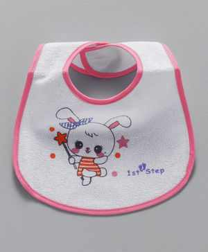 1st Step Bib Kitty Print - White
