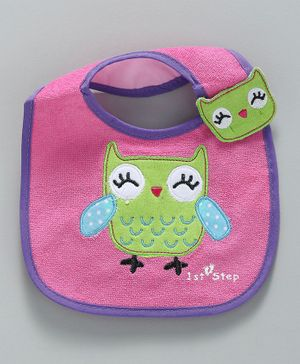 1st Step Bib Owl Patch - Pink