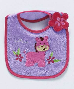 1st Step Bib Pony Patch - Light Purple