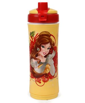 Disney Princess Belle Sipper Bottle With Flip Open Top Red Yellow - 600 ml