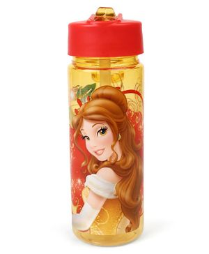 Disney Princess Belle Sipper Bottle With Flip Open Top Red Yellow - 550 ml