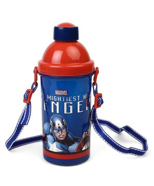 Marvel Captain America Sipper Bottle With Push Button Blue Red - 500 ml