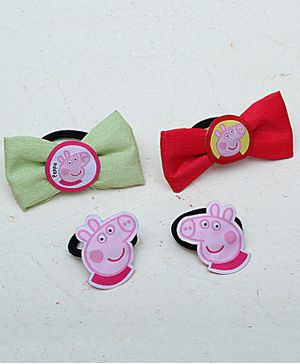 D'Chica Set Of Four Peppa Pig Hair Ties - Pink Red & Green