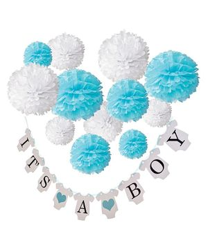 Party Propz Banner & Pom Pom Combo For baby Boy Arrival Decoration - Blue & White