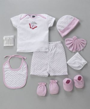 Mee Mee Clothing Gift Set Butterfly And Small Flower Print Pack of 9 - Pink & White