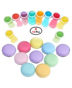 Party Propz Macaroon Crystal Jelly Modelling Slime Set of 10 - Multicolour