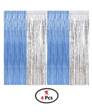 Party Propz Foil Curtain Birthday Decoration Pack of 4 - Blue & Sliver