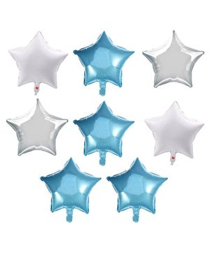Party Propz First Birthday Balloons Blue & White - 8 Pieces
