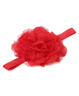 Flaunt Chic Netted Flower Headband - Red