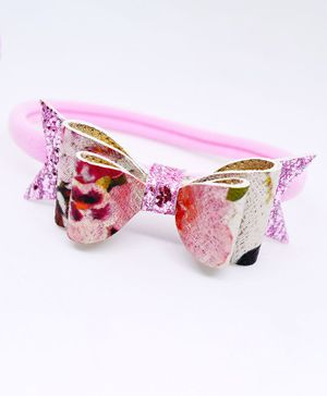 Little Tresses Printed Bow Head Band - Pink