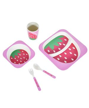 SmartCraft Bamboo Dinner Set Strawberry Design Pink - Pack of 5